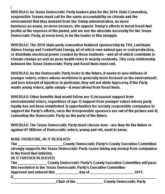 TX Dem Divestment Resolution