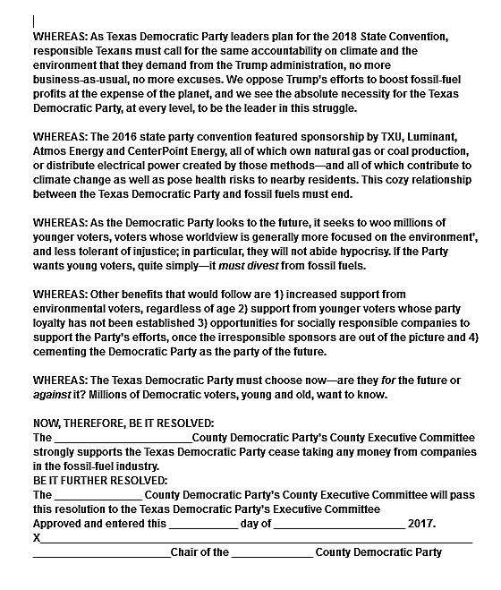 TX Dem Divestment Resolution